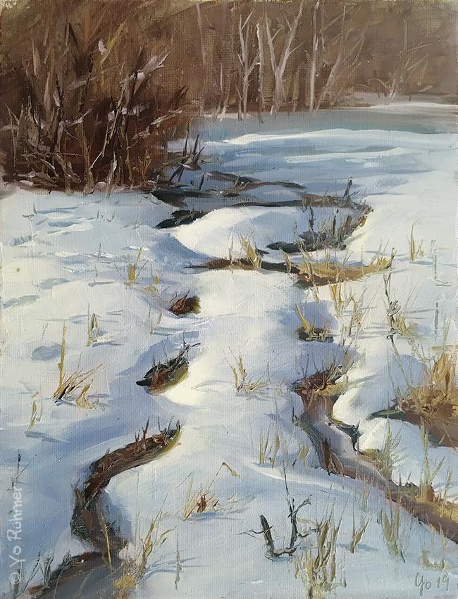 bach im schnee pleinairmalerei