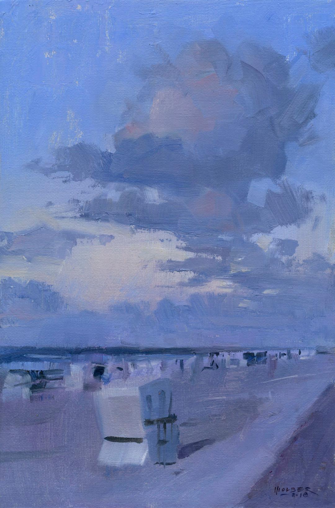Blaue Stunde, Wangerooge Pleinairmalerei